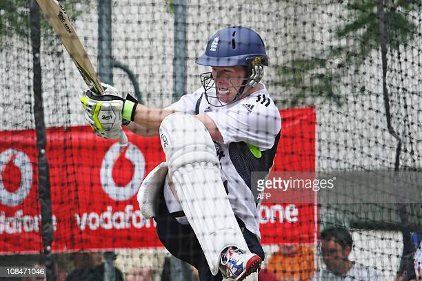 USEEngland's cricketer Eoin Morgan bats in the net during the team's final training session at the Gabba before their first Ashes Test match against...