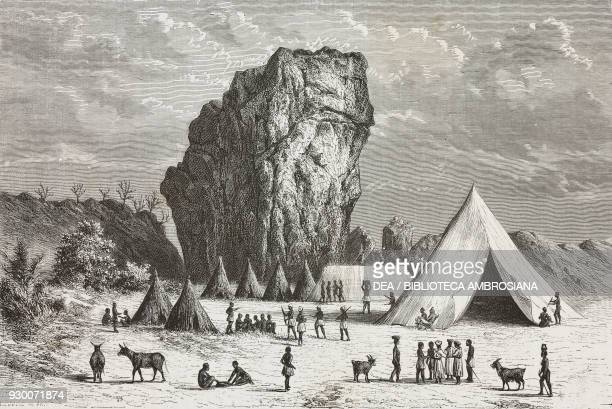 Usekhe camp Tanzania drawing by Alexandre De Bar from the English edition of Journey across Africa from Zanzibar to Benguela 18721876 by Verney...