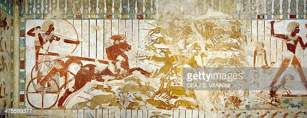 Userhat on his chariot for gazelle hunting digital reconstruction of frescoes in the chapel of the Tomb of Userhat royal scribe in the time of...