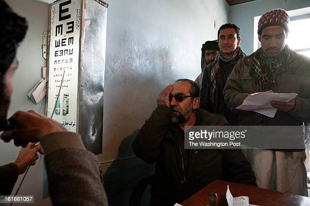 KABUL AFGHANISTAN – JANUARY Users get their eyesight tested at the traffic department in Kabul to renew their driving license Obtaining a vehicle...