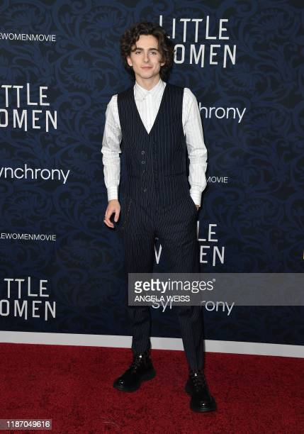 """French actor Timothee Chalamet arrives for """"Little Women"""" world premiere at the Museum of Modern Art in New York on December 7, 2019."""