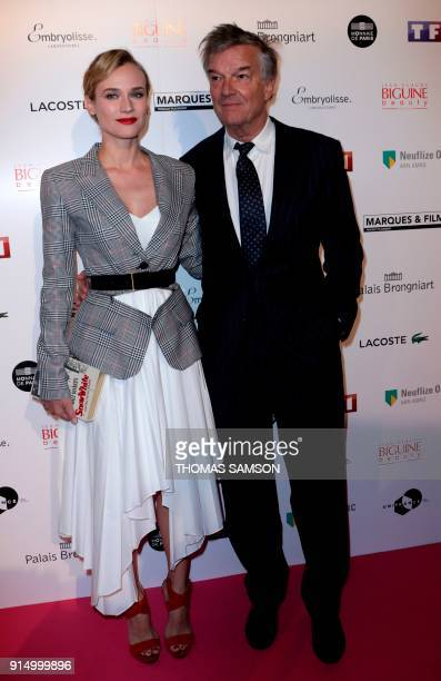 US/German actress Diane Kruger and French director Benoît Jacquot pose as they arrive to attend the 25emes Trophees du Film Français awards ceremony...
