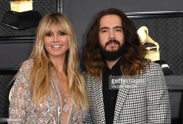 USGerman model Heidi Klum and husband musician Tom Kaulitz arrive for the 62nd Annual Grammy Awards on January 26 in Los Angeles