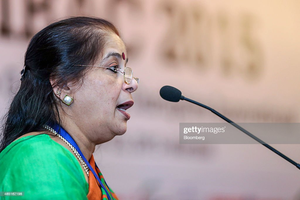 Usha Ananthasubramanian chief executive officer of Punjab National Bank speaks during the FIBAC banking conference in Mumbai India on Tuesday Aug 25..