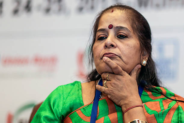 Usha Ananthasubramanian chief executive officer of Punjab National Bank attends the FIBAC banking conference in Mumbai India on Tuesday Aug 25 2015...