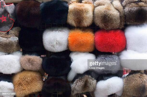 Ushanka fur hats on sale at a market stall in Moscow