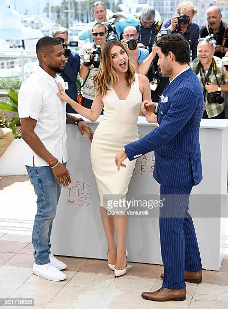 Usher Ana de Armas and Edgar Ramirez attend the 'Hands Of Stone' photocall during the 69th annual Cannes Film Festival at the Palais des Festivals on...
