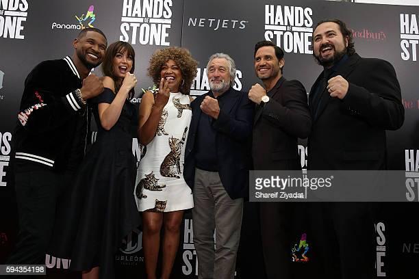 Usher Ana De Armas Grace Hightower Robert DeNiro Edgar Ramirez and Johnathon Jakubowicz attend Hands Of Stone Premiere With DeLeon Tequila SVA...