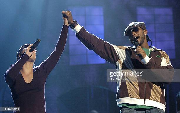 Usher and Alicia Keys during 32nd Annual American Music Awards Day Four Rehearsals at Shrine Auditorium in Los Angeles California United States