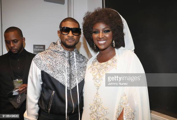 Usher and Amara La Negra attend the 2018 Global Spin Awards at The Novo by Microsoft on February 15 2018 in Los Angeles California