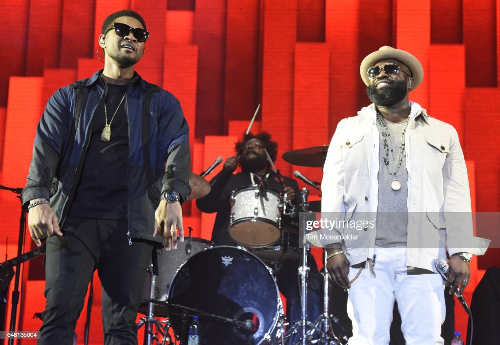 Usher (L) and Black Thought of Usher & The Roots perform during the Okeechobee Music Festival on March 4, 2017 in Okeechobee, Florida.