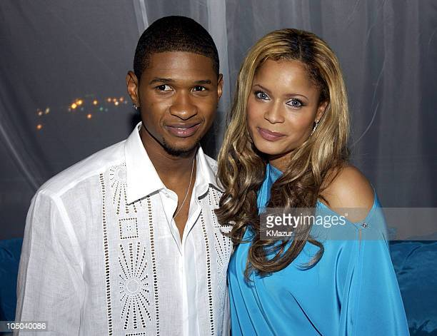 """Usher and Blu Cantrell during Usher Celebrates Multi-Platinum Album """"8701"""" which has Sold 5 Million Copies Worldwide at Pier 59 Studios in New York..."""