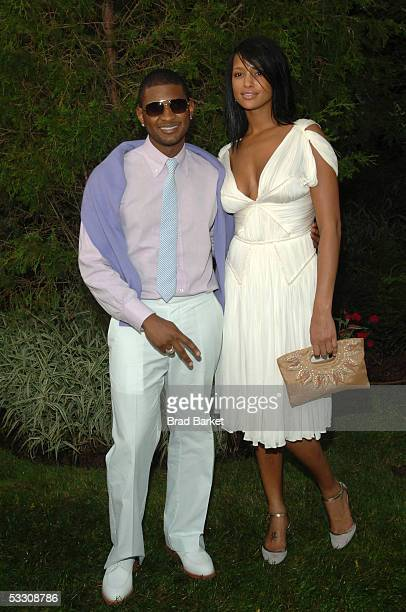 Usher and Eishia Brightwell arrive to the Alicia Keys Honored At Bright Lights Philanthropic Arts Foundation at Russell Simmons's estate on July 30...