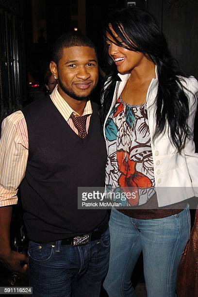 Usher and Eishia Brightwell attend CHROME HEARTS Party for ELLE Accessories Magazine hosted by Richard Laurie Lynn Stark at Chrome Hearts on April 14...