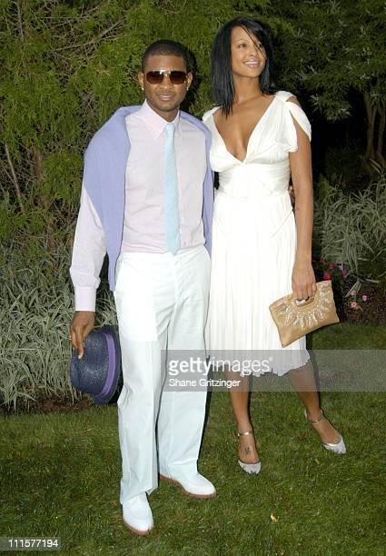 Usher and Eishia Brightwell during Philanthropic Arts Foundation's Sixth Annual Art For Life Benefit at Private East Hampton Estate of Russell and...