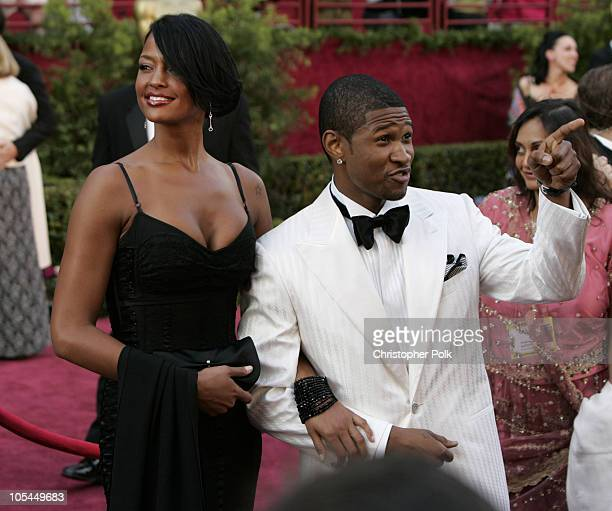 Usher and Eishia Brightwell during The 77th Annual Academy Awards Arrivals at Kodak Theatre in Los Angeles California United States