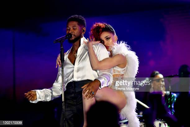 Usher and FKA twigs perform onstage during the 62nd Annual GRAMMY Awards at STAPLES Center on January 26 2020 in Los Angeles California
