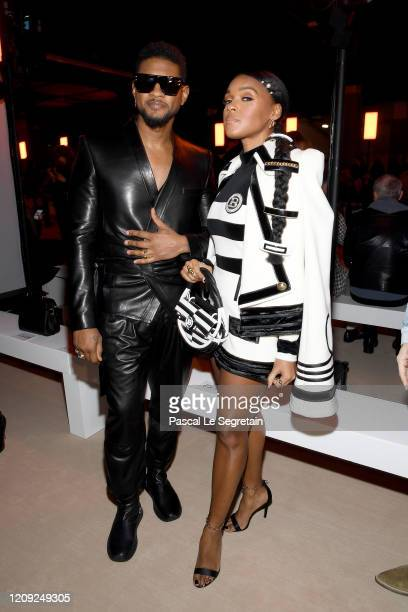 Usher and Janelle Monae attend the Balmain show as part of the Paris Fashion Week Womenswear Fall/Winter 2020/2021 on February 28 2020 in Paris France