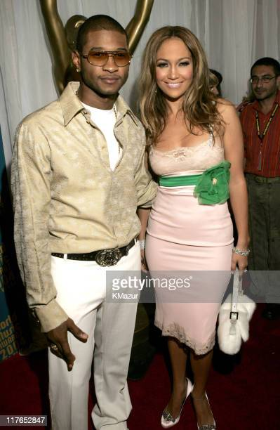 Usher and Jennifer Lopez during 2004 World Music Awards - Red Carpet at The Thomas and Mack Center in Las Vegas, Nevada, United States.