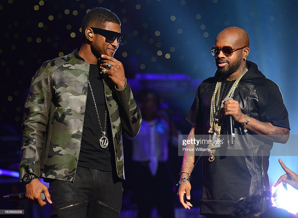 Usher and Jermain Dupri perform at the So So Def 20th anniversary concert at the Fox Theater on February 23, 2013 in Atlanta, Georgia.