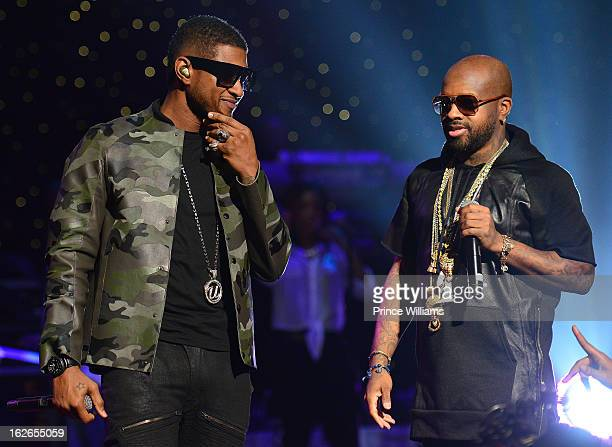 Usher and Jermain Dupri perform at the So So Def 20th anniversary concert at the Fox Theater on February 23 2013 in Atlanta Georgia