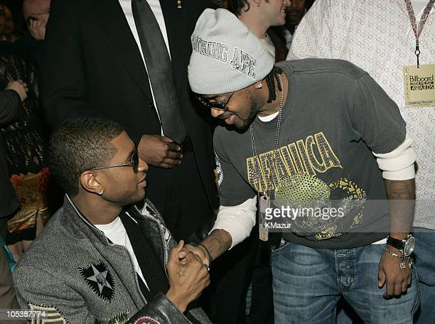 Usher and Jermaine Dupri during 2004 Billboard Music Awards - Backstage and Audience at MGM Grand Garden in Las Vegas, Nevada, United States.