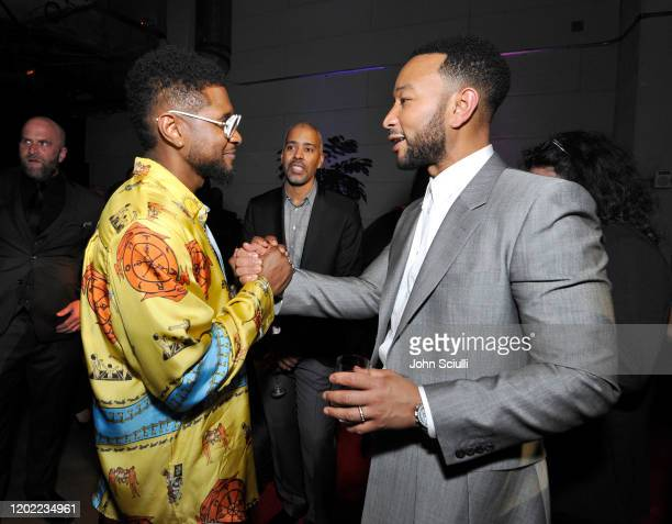 Usher and John Legend attend the Sony Music Entertainment 2020 PostGrammy Reception at NeueHouse Hollywood on January 26 2020 in Los Angeles...