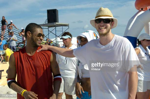 Usher and Justin Timberlake during *NSYNC's Challenge for the Children VI Day 2 Skills Challenge at Miami Beach in Miami Florida United States