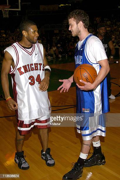 Usher and Justin Timberlake during *NSYNC's Challenge for the Children VI Day 3 Basketball Game at Office Depot Center in Sunrise Florida United...