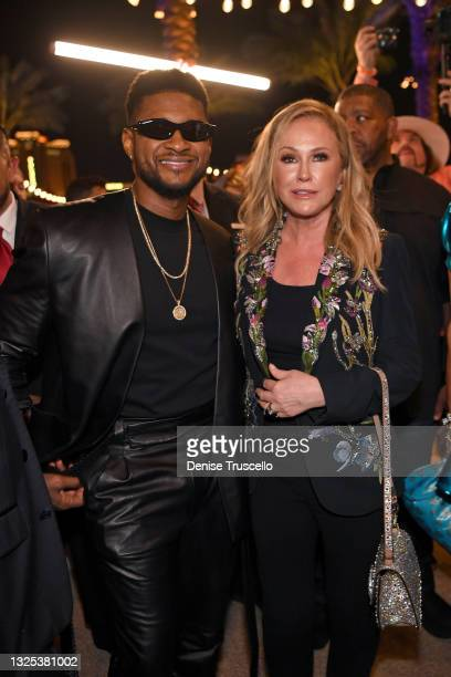 Usher and Kathy Hilton attend the Resorts World Las Vegas Grand Opening on June 24, 2021 in Las Vegas, Nevada.