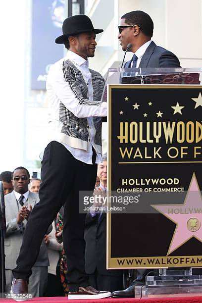 Usher and Kenny 'Babyface' Edmonds attend the ceremony honoring Kenny 'Babyface' Edmonds with a Star on The Hollywood Walk of Fame on October 10 2013...