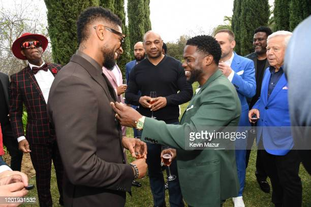 Usher and Kevin Hart attend 2020 Roc Nation THE BRUNCH on January 25 2020 in Los Angeles California
