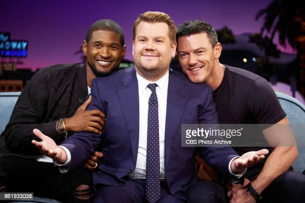 Usher and Luke Evans chat with James Corden during The Late Late Show with James Corden Thursday October 12 2017 On The CBS Television Network