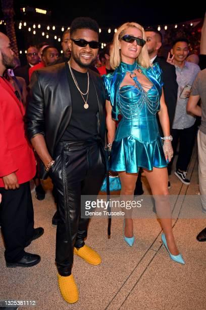 Usher and Paris Hilton attend the Resorts World Las Vegas Grand Opening on June 24, 2021 in Las Vegas, Nevada.