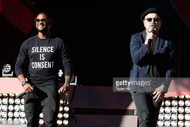 Usher and Ruben Blades perform during the 2016 Global Citizen Festival at Central Park on September 24 2016 in New York City