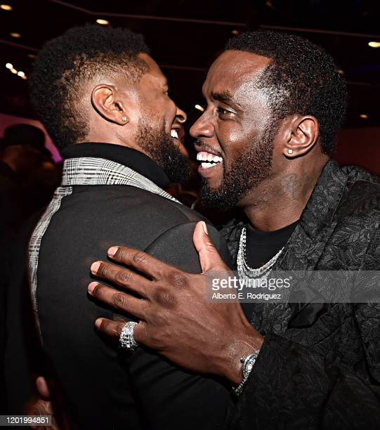 Usher and Sean Combs attend the PreGRAMMY Gala and GRAMMY Salute to Industry Icons Honoring Sean Diddy Combs on January 25 2020 in Beverly Hills...