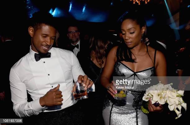 Usher and Tiffany Haddish attend the City of Hope Spirit of Life Gala 2018 at Barker Hangar on October 11 2018 in Santa Monica California
