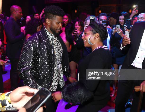 Usher and Tiffany Haddish celebrate Kevin Hart's 40th birthday at TAO with LOUIS XIII Cognac and Rémy Martin on July 06 2019 in Los Angeles California