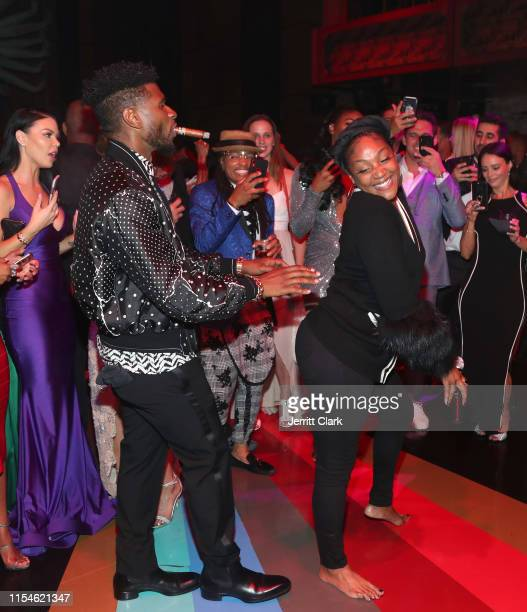 Usher and Tiffany Haddish dance during Kevin Hart 40th Birthday At TAO In Los Angeles With LOUIS XIII And Rémy Martin XO at TAO on July 06 2019 in...