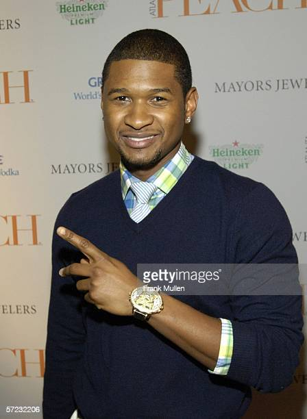 Usher arrives at the launch party for Atlanta Peach magazine hosted by Pamela Anderson and Ludacris March 31 2006 in Atlanta Georgia