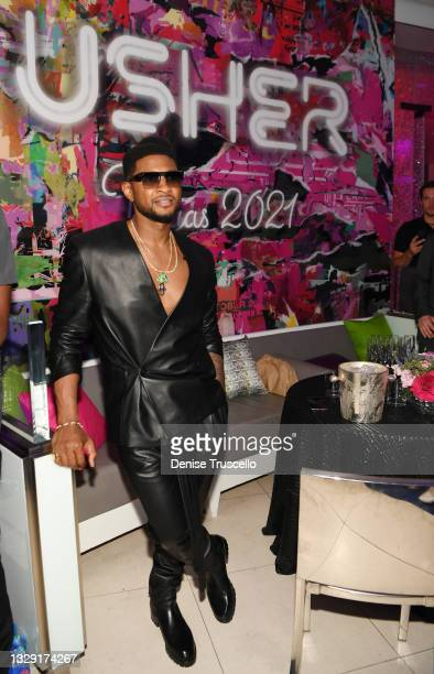 """Usher attends an after party celebrating the grand opening of """"USHER The Las Vegas Residency"""" at Mr. Chow at Caesars Palace on July 16, 2021 in Las..."""