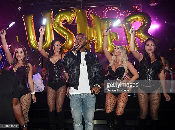Usher attends his official album release party at 1 OAK Las Vegas at the Mirage Hotel and Casino on September 24 2016 in Las Vegas Nevada