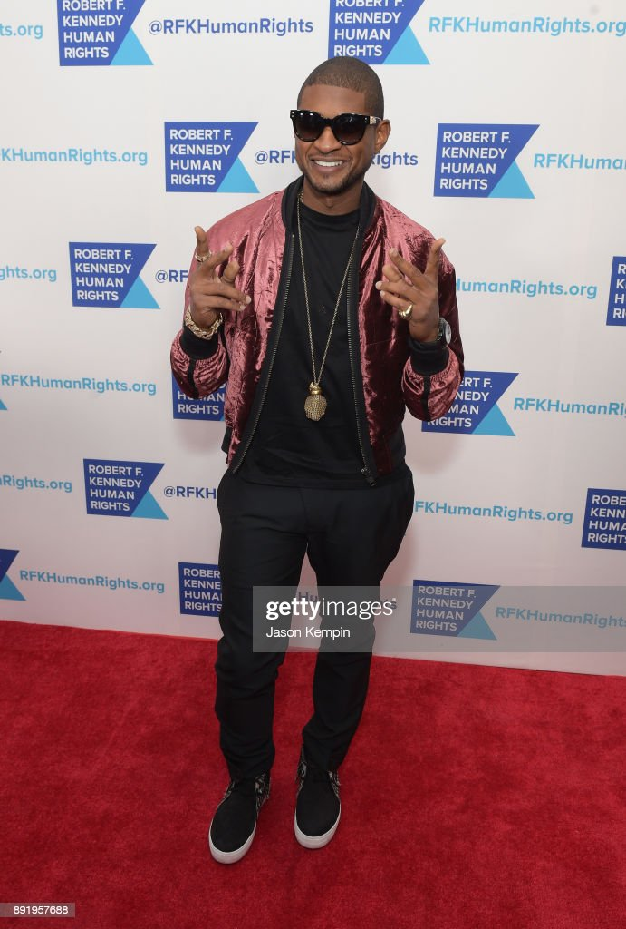 Usher attends Robert F. Kennedy Human Rights Hosts Annual Ripple Of Hope Awards Dinner on December 13, 2017 in New York City.