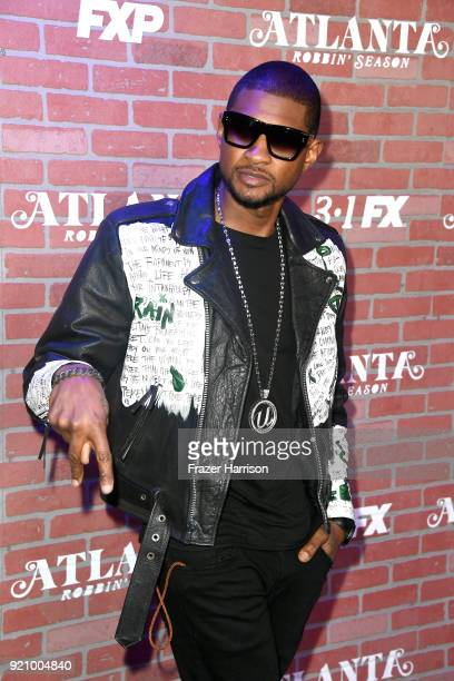 Usher attends the premiere for FX's 'Atlanta Robbin' Season' at The Theatre at Ace Hotel on February 19 2018 in Los Angeles California