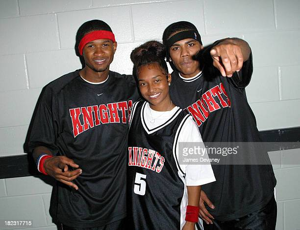 Usher Chilli of TLC and Nelly during *NSYNC Challenge for the Children IV Celebrity Basketball Game at TD Waterhouse Centre in Orlando Florida United...