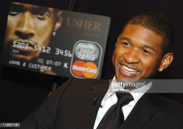 Usher during Usher Unveils the Usher Raymond IV Debit MasterCard at Murray Hills Studio in New York City New York United States
