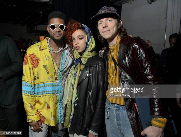 Usher, FKA twigs and Matt Shultz of Cage The Elephant attend the Sony Music Entertainment 2020 Post-Grammy Reception at NeueHouse Hollywood on...