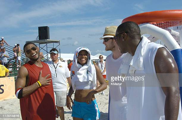 Usher Gabrielle Union and Justin Timberlake during *NSYNC's Challenge for the Children VI Day 2 Skills Challenge at Miami Beach in Miami Florida...