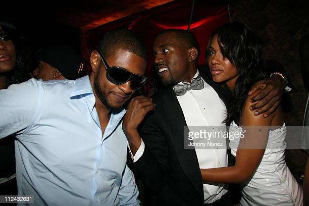 Usher Kanye West and Alexis Phifer during Mark Birnbaum Eugene Remm and Kanye West Celebrate Their Birthdays Hosted by Fonzworth Bentley Live...