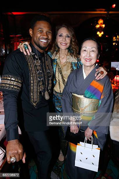 Usher Marisa Berenson and Setsuko Klossowska De Rola attend the Berluti Dinner as part of Paris Fashion Week Menswear F/W 20172018 Held at Maxim's on...